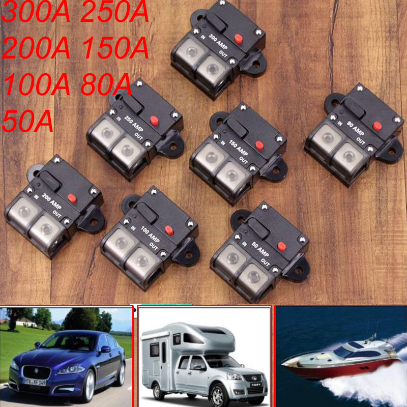 50//300 Amp In-Line Circuit Breaker Stereo//Audio//Car//Yacht//Fuse Holder 12V//42V