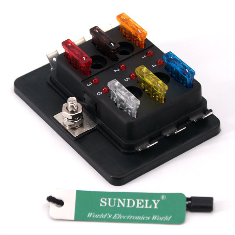 12v  24v 6 Way Blade Fuse Box Holder Bus Bar With Led