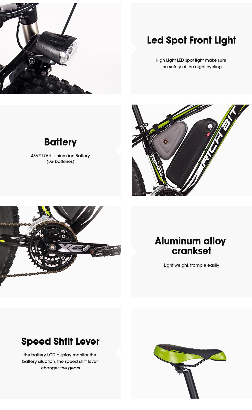 Rich Bit Electric Bike Powerful 1000w 48v 17ah Bicycle Fat Relay Ebike 40