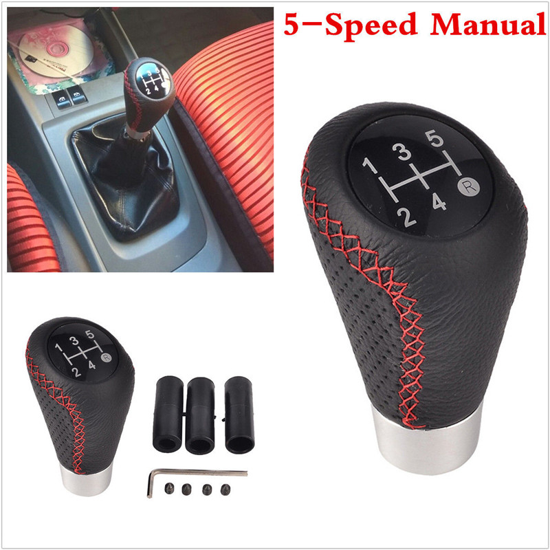 Details about 5 Speed Black&Red Leather Aluminum Manual Car Gear Shift Knob  Shifter Lever