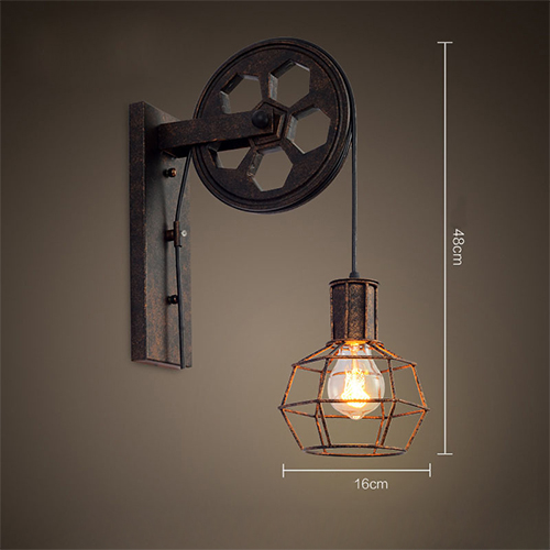 Industrial Pulley Light Fixture: Loft Industrial Retro Wall Lamp Single Head Lifting Pulley