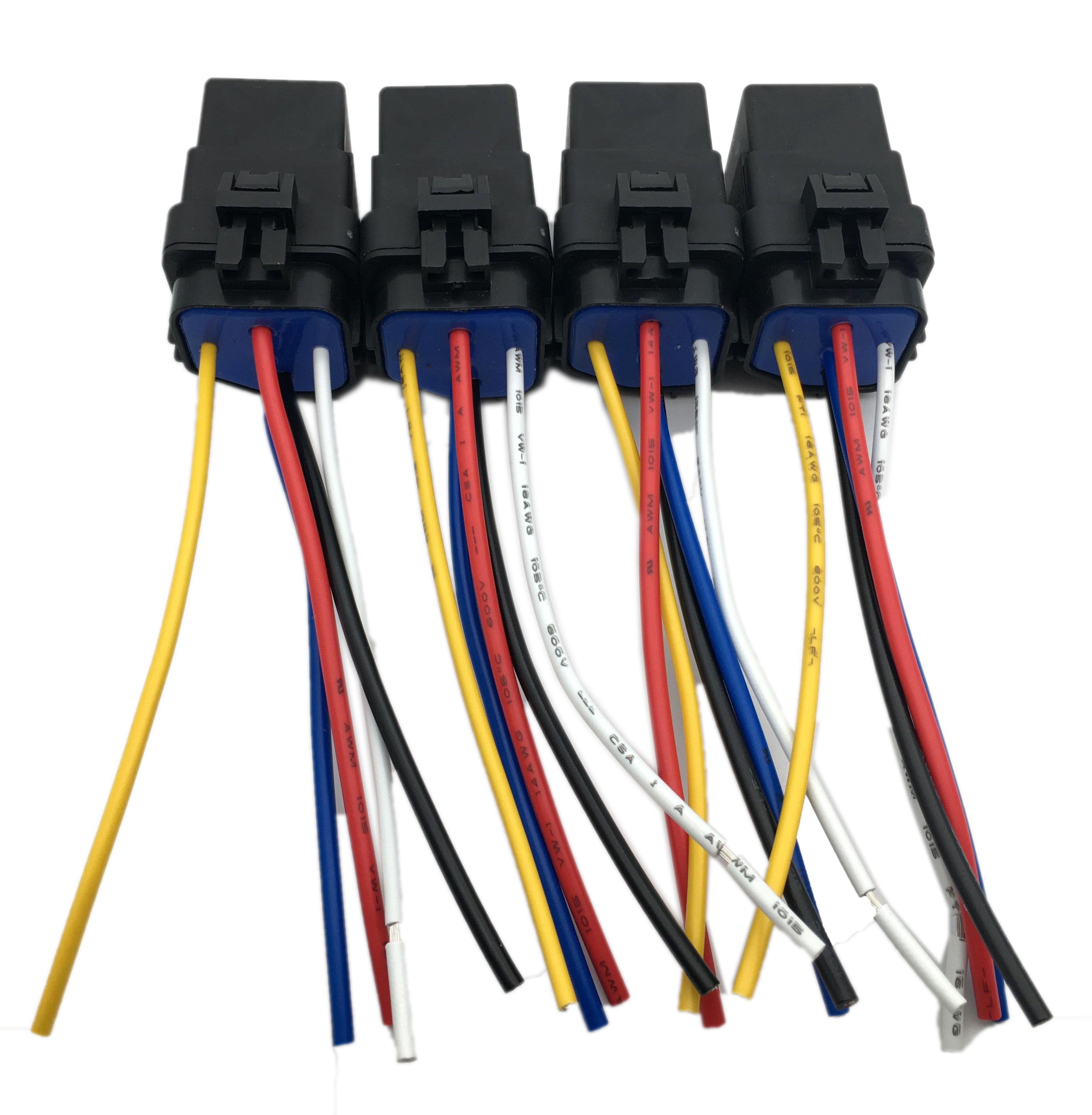 4 pack 12V 40 amp Car Auto 5 pin & wire Relay Waterproof ...