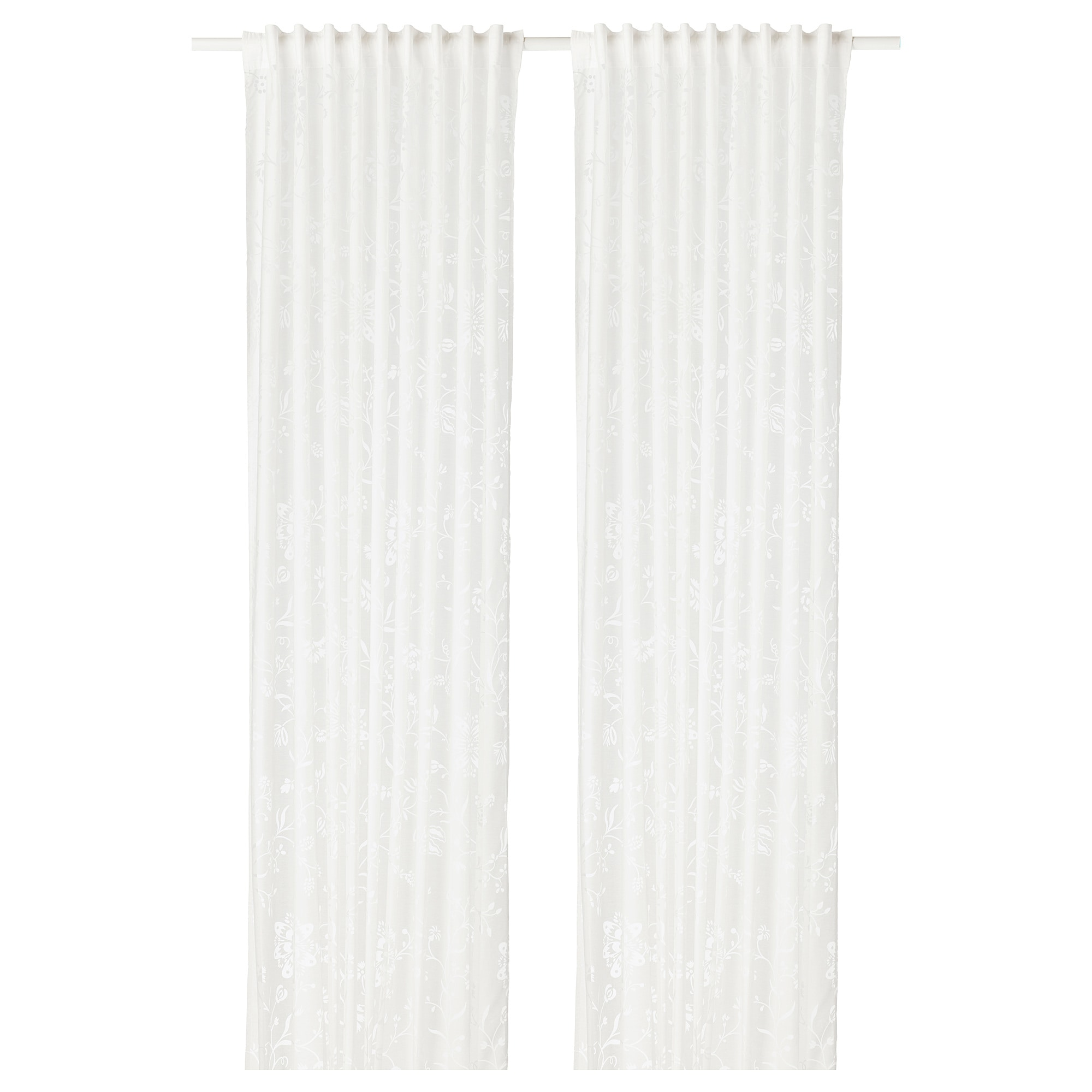 Q0pair Ikea White Curtains Borghild Panel Sheer Bedroom