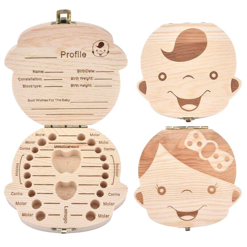 Baby First Tooth Keepsake Wooden Storage Box For Kids Boy Girl Milk Teeth
