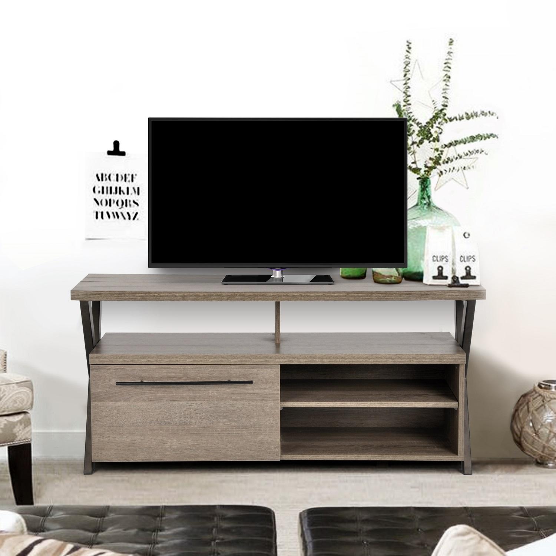 Retro Design TV Stand Cabinet Widescreen Unit Grey OAK