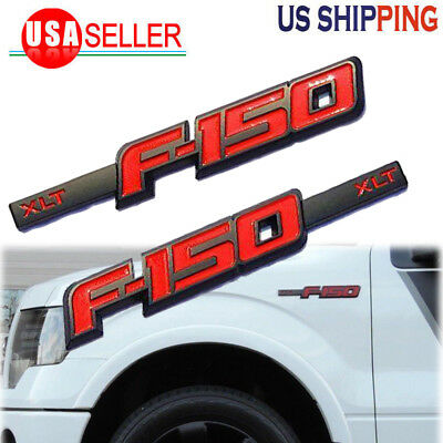2x OEM Black F150 King Ranch Emblems Right and Left Side Fender Badge 3D Nameplate Replacement for F-150 Red Genuine Parts