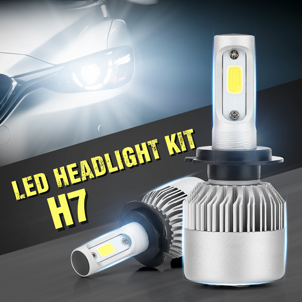 2x h7 cree led headlight 200w 20000lm bulbs 6500k s2 white. Black Bedroom Furniture Sets. Home Design Ideas