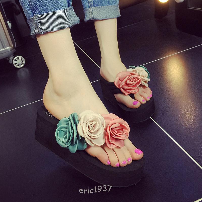 Women's Mid Wedge Heel Platform Flowers Sweet Flip Flops Thongs Slipper Sandals