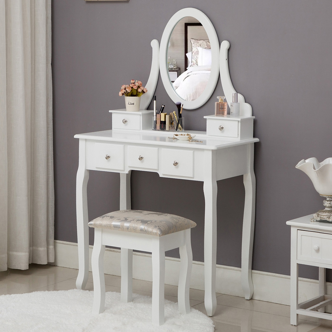 Fine Vanity Table 1 Oval Mirror Stool Set 5 Drawer Removable Gmtry Best Dining Table And Chair Ideas Images Gmtryco
