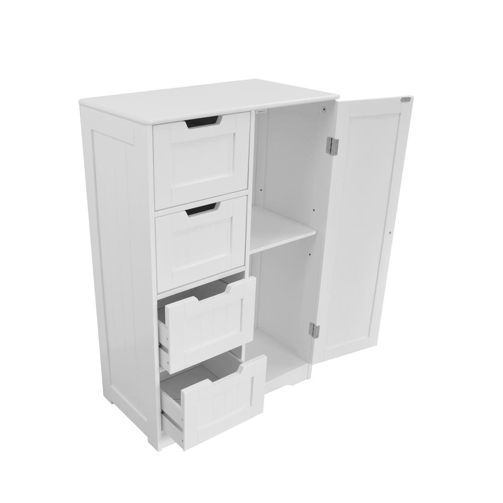 White Wood Storage Cabinet Cupboard Bathroom Furniture