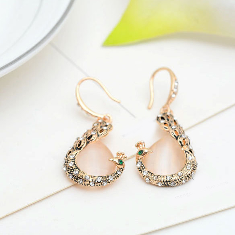 Diamond Necklace Wedding Gift : ... Wedding Jewelry Set Faux Diamond Peacock Pendant Necklace Earrings