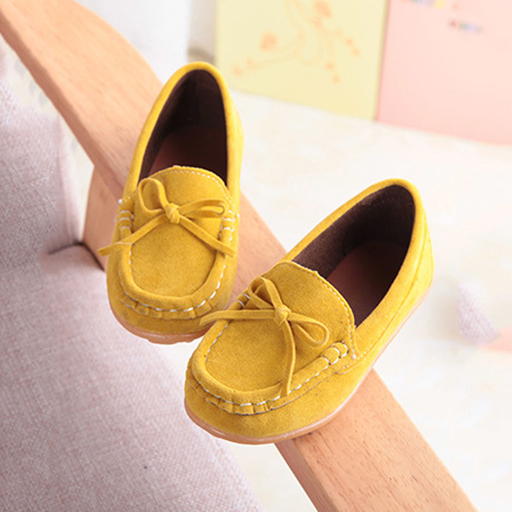 Boys Girls Kid Casual Soft Peas Leather Slip On Flat Shoes Loafer Fashion Flats
