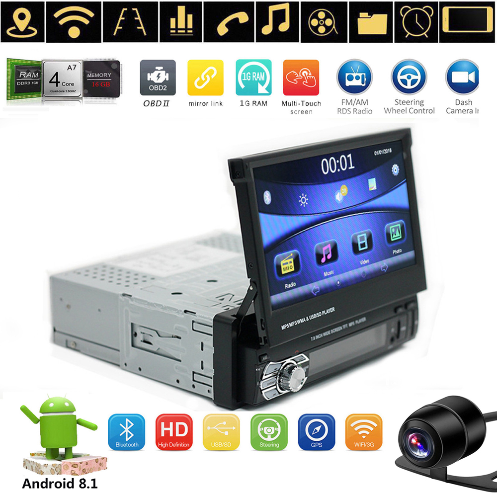 Details about Android 8 1 Flip Out Single 1DIN MP5 Player Car Stereo Radio  GPS Navi