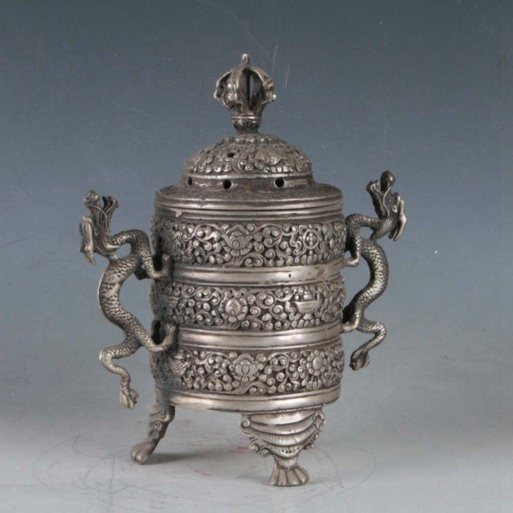 Exquisite-Tibetan-Silver-Dragon-Incense-Burner miniature 6