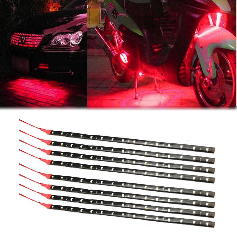 Waterproof 30cm 15 LED Car Lighting Flexible Decorative Light Strip Bar Red
