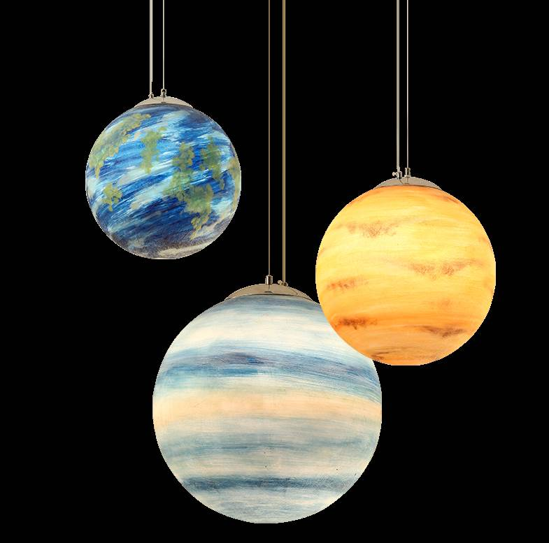 Resin Moon Sun Earth Ceiling Lamp