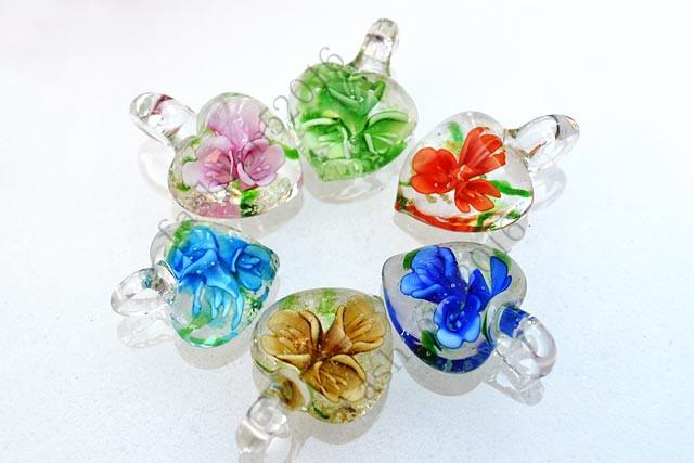 Wholesale Lots 12pcs Leaf Flower Lampwork Glass Small Pendant Fit Necklace