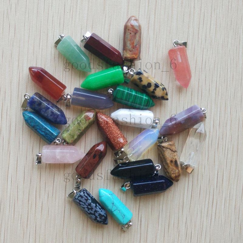 Fashion Assorted Natural Stone Pendulum Mixed Pillar Pendant 24pcs//lot Wholesale