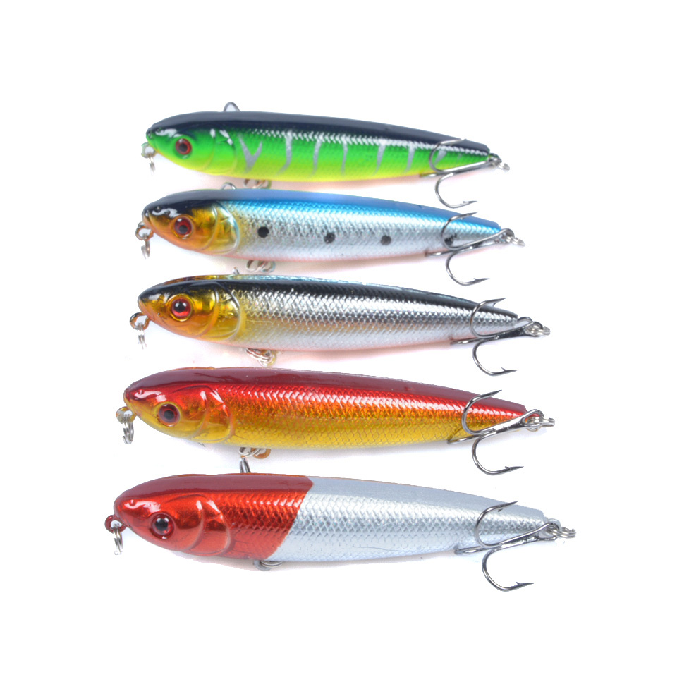 Lot 5pcs 8CM/8.6G Minnow Fishing Lure Crank Bait Hooks Bass Crankbait Tackle