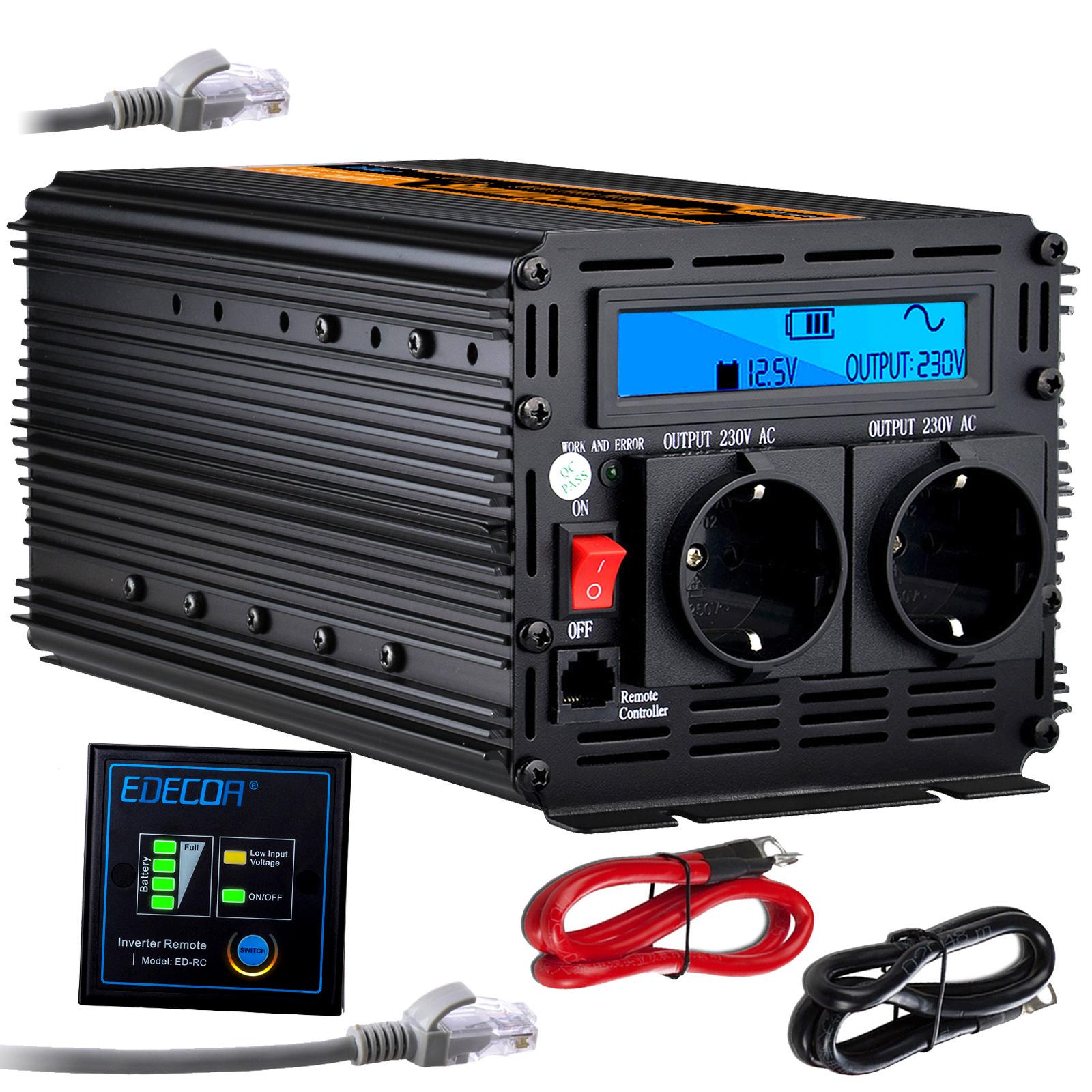 Reiner Sinus Spannungswandler 1000W 2000W 12V 230V Wechselrichter Mit LCD