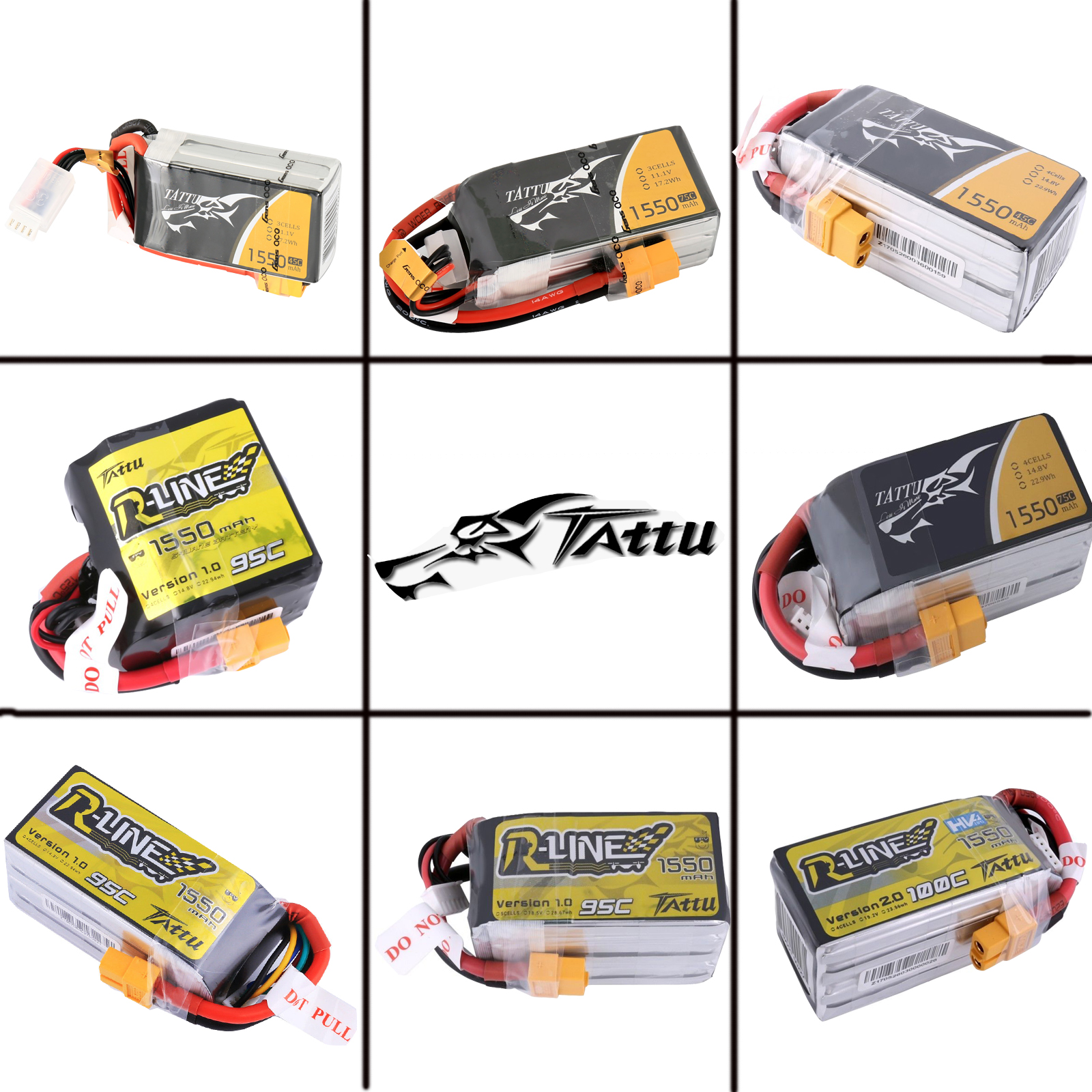 Tattu Rline LiPo Akku Pack 1550mAh 14.8V 95C 4S for FPV Racing Quadcopters Helikopter Flugzeuge und Modellboote