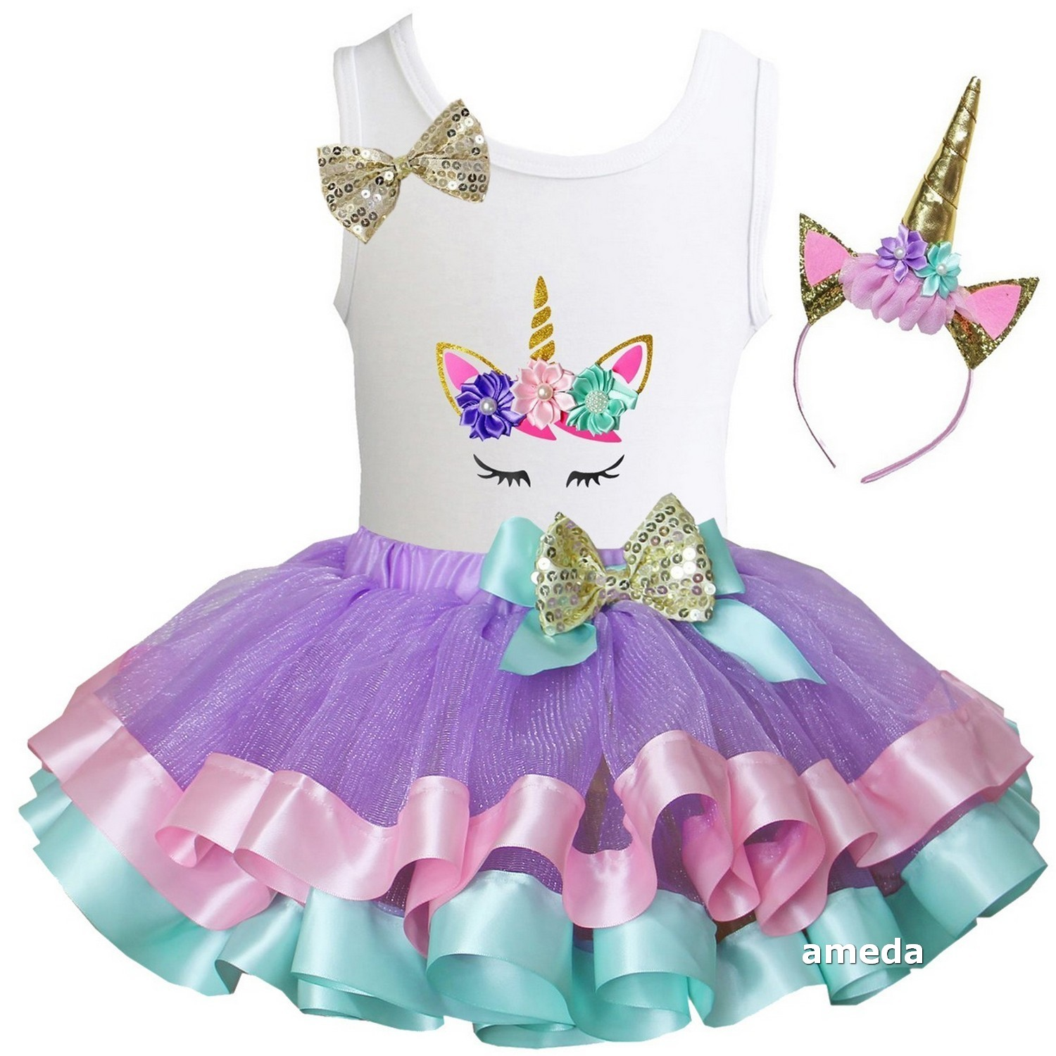 cf6b24692 Details about Girls Gold Pastel Satin Trimmed Tutu & 1st - 10th Birthday  Unicorn Dress Outfit