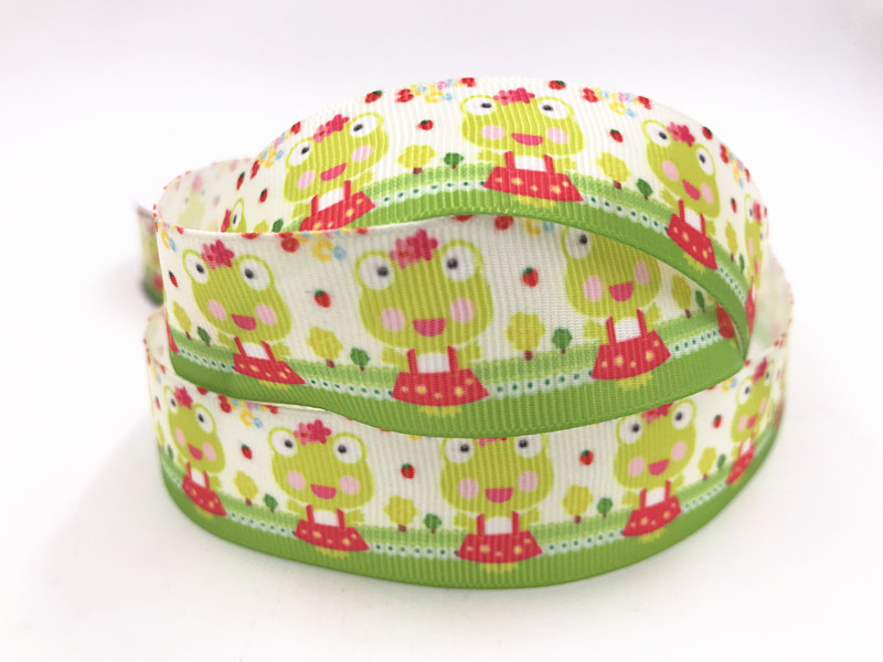 1-10Yard1/'/'25MM Colored flowers Printed Grosgrain Ribbon Hair Bow Sewing Ribbon
