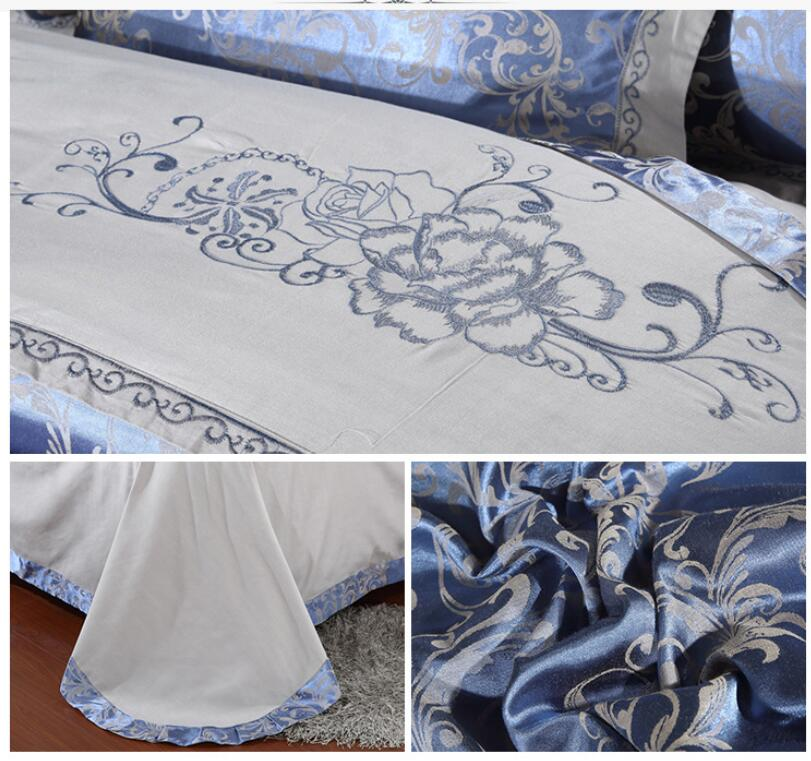 Royal-Luxury-Silk-Cotton-Duvet-Cover-Bedding-Sets-Ferrero-blue-grey-bed-linen thumbnail 2