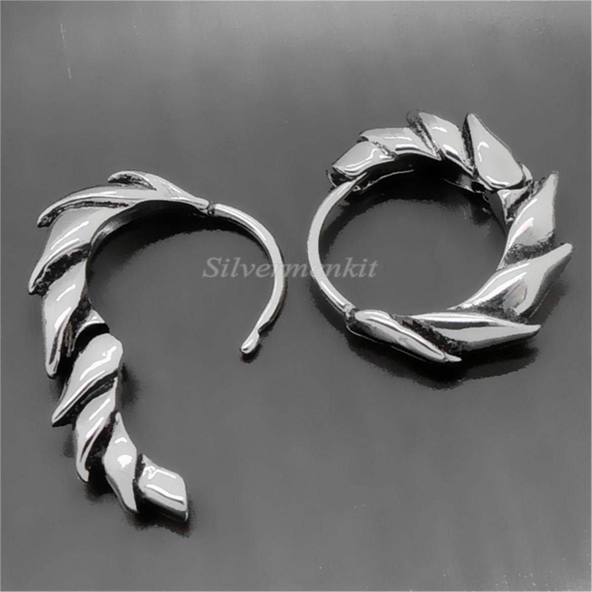 Silver Dragon Blade Stainless Steel Huggie Men Individuality Earrings Allergy