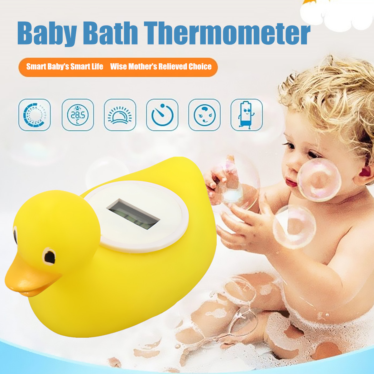 Baby Bathing Thermometer Digital Cute Duck Water Sensor Safety Floating Toy SMAR