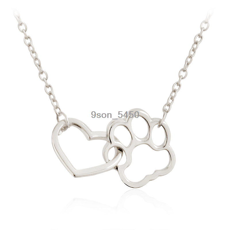 New Cute Dog Cat Paw Print Love Heart Charm Pendant Necklace Dog Pet Lover Hot