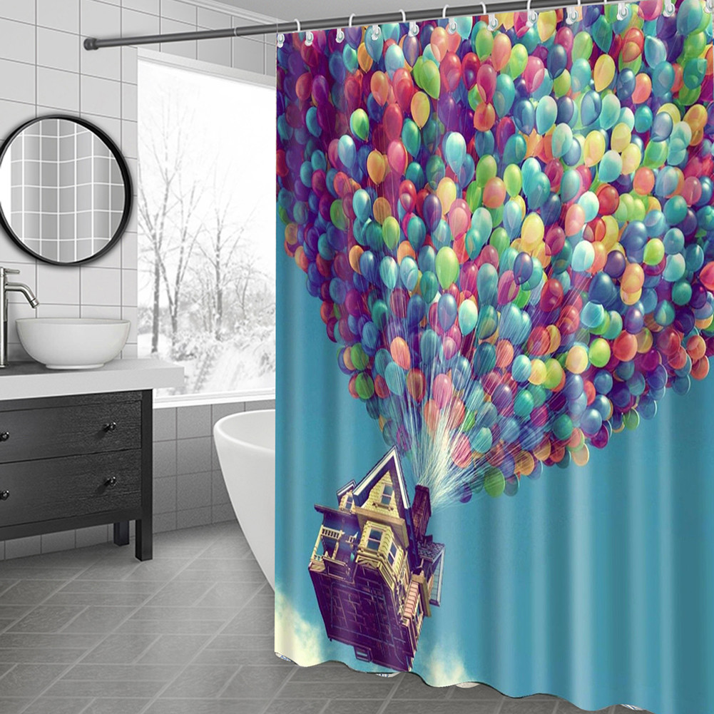 Colorful Balloon Rustic House Shower Curtain Blue Sky Bathroom Washable /& Hooks