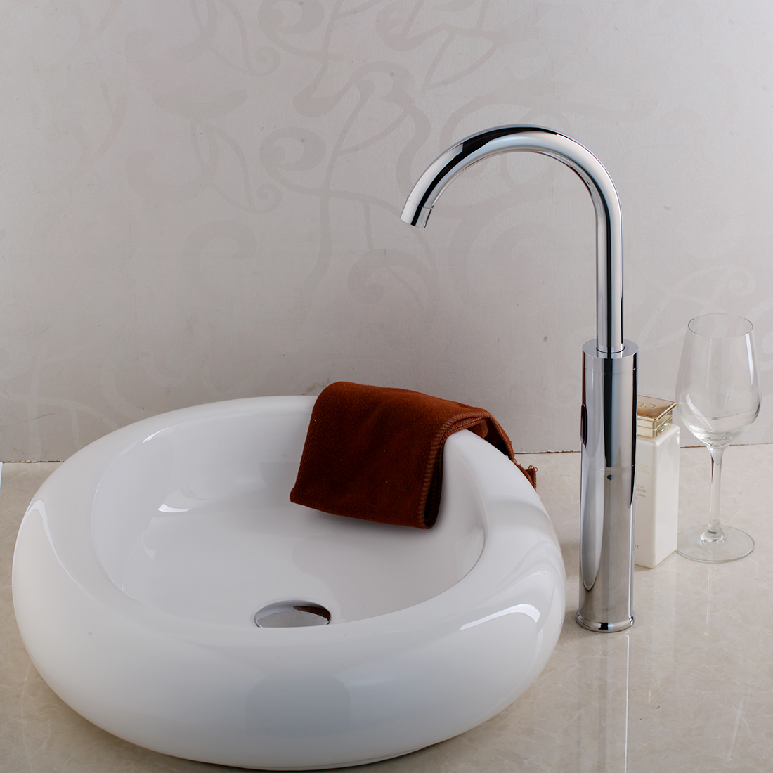 Round sink bowl Amazing Bathroom Details About Autosensor Taps Round White Porcelain Ceramic Vessel Sink Bowl Faucet Combo Ebay Autosensor Taps Round White Porcelain Ceramic Vessel Sink Bowl
