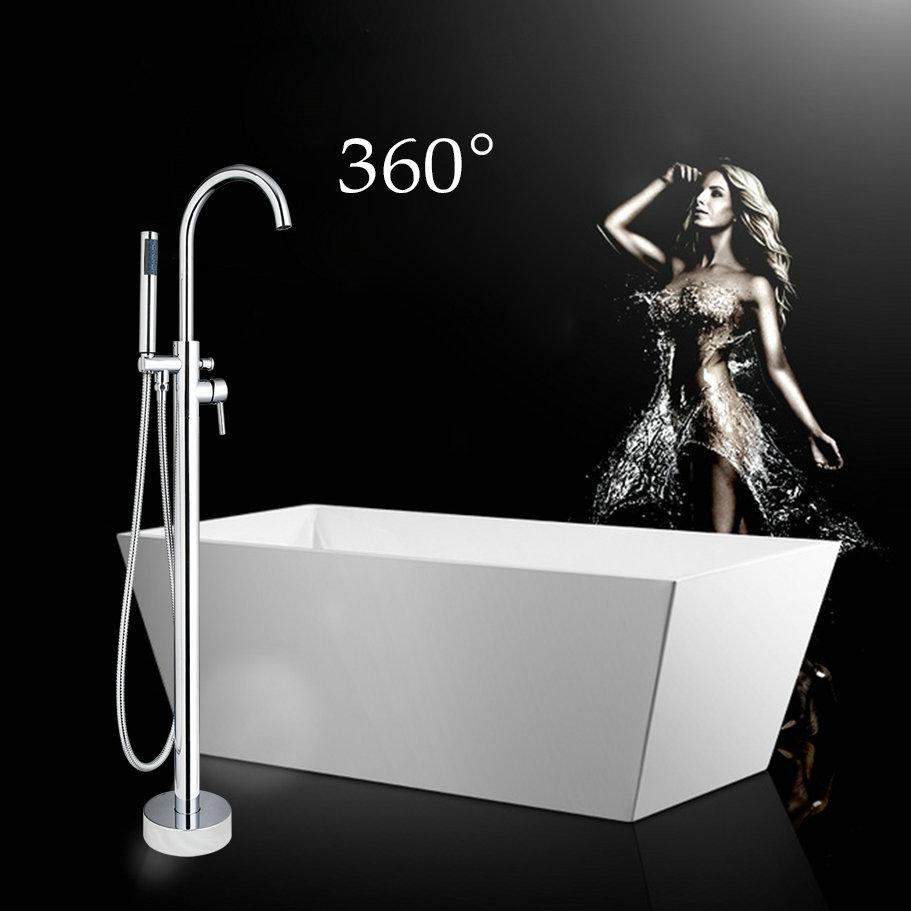 US Floor Mount Bathroom Chrome Bath Tub Mixer Faucet Taps & Hand ...