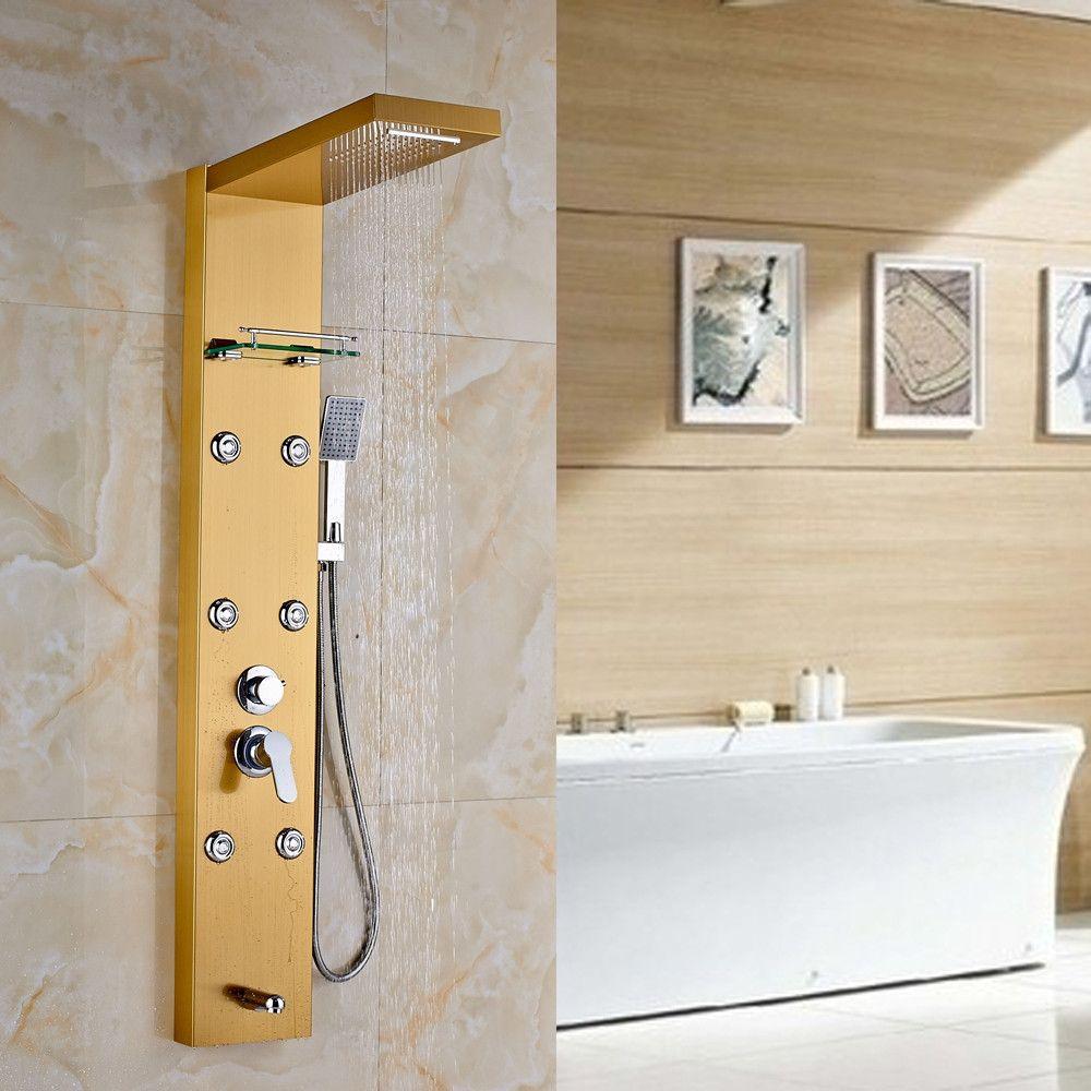 Gold Rain Bathroom Shower Panel Column Massage Jets With Shelf Tub ...