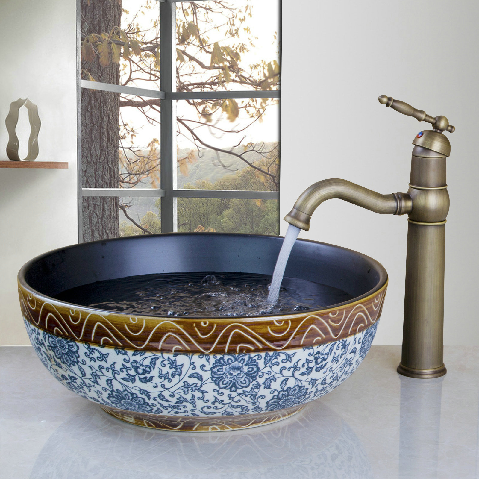 Details about Classical Ceramic Bowl Round Bathroom Vessel Sink Basin  Antique Brass Faucet Set