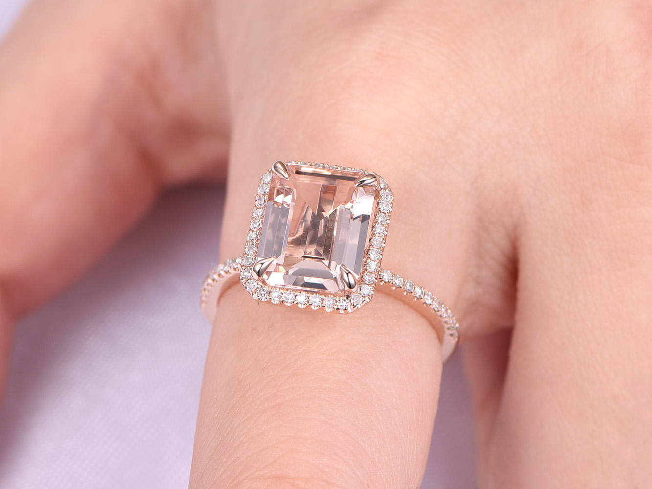 fb24bc2b40124 Details about Emerald Cut 8x10MM Natural Pink Morganite Diamond 14K Gold  Halo Engagement Ring