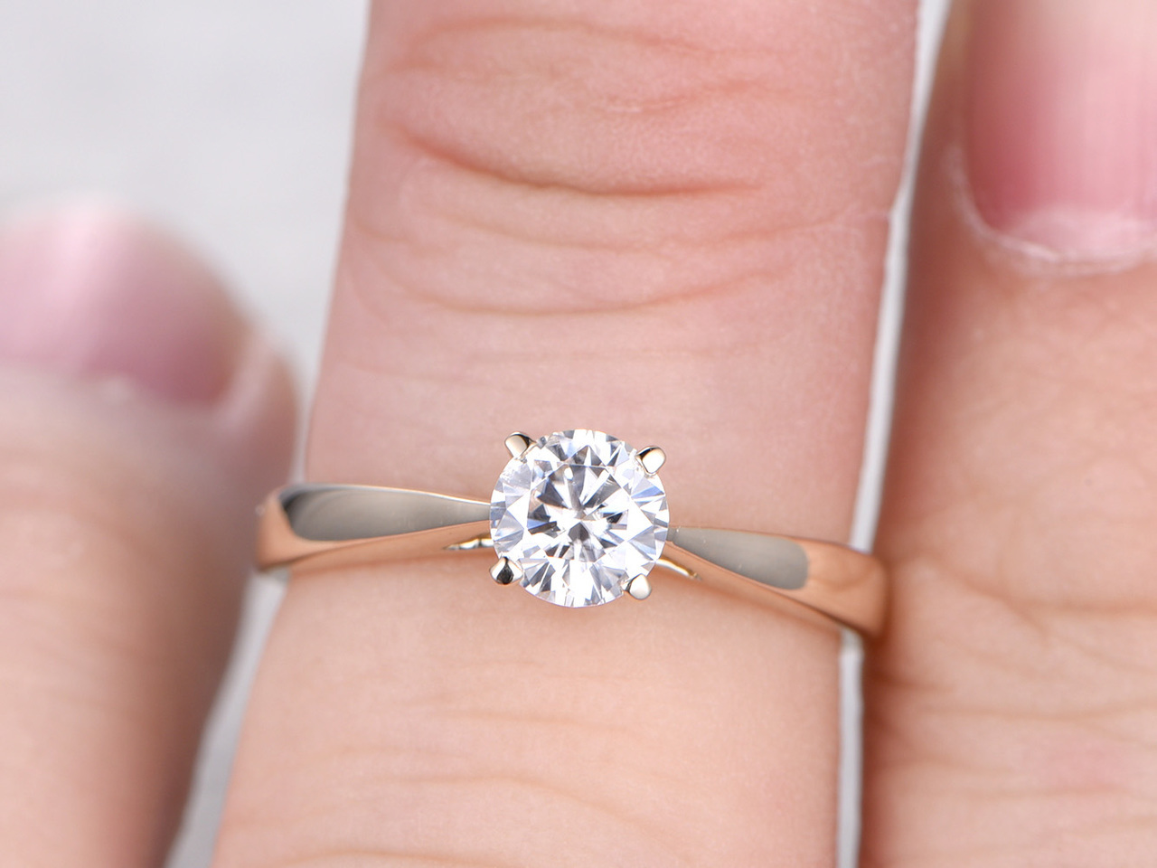 5MM Round Cut Esdomera Moissanite 14k Gold Solitaire 4 Prongs ...