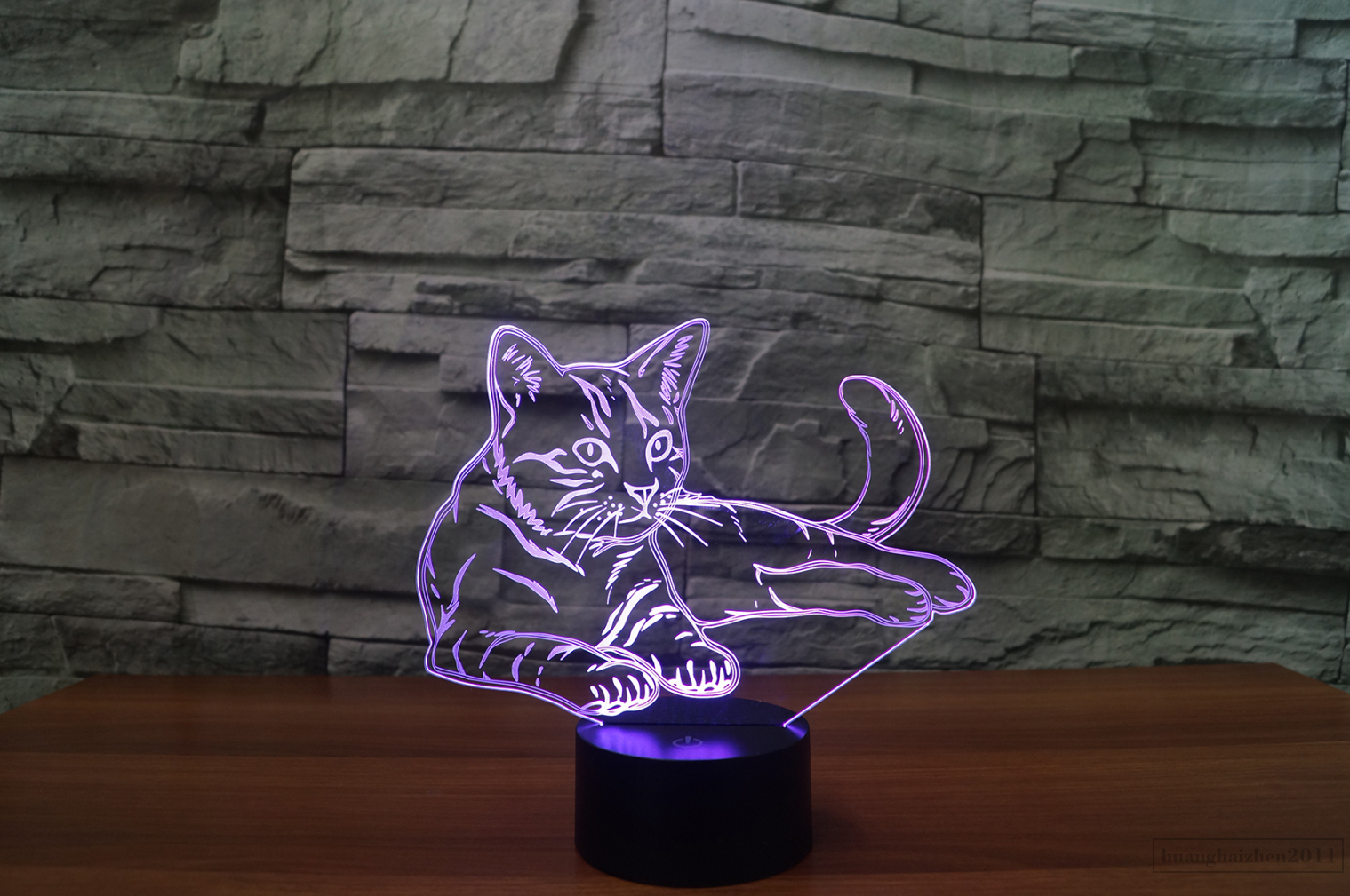 light pink lamp 3d animal cat light 7 color change led table lamp 3759