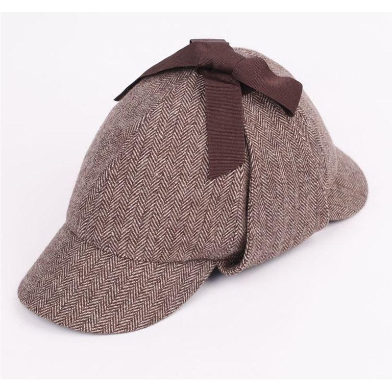 703055e85 Mens Vintage British Style Wool Tweed Deerstalker Hat Hunting Cap w ...