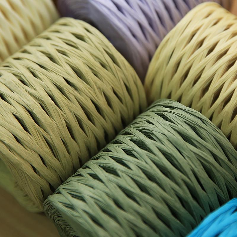 200M//Roll 100/%Raffia Straw Yarn Hand Crocheting Yarn For Diy Handmade Hats Bags