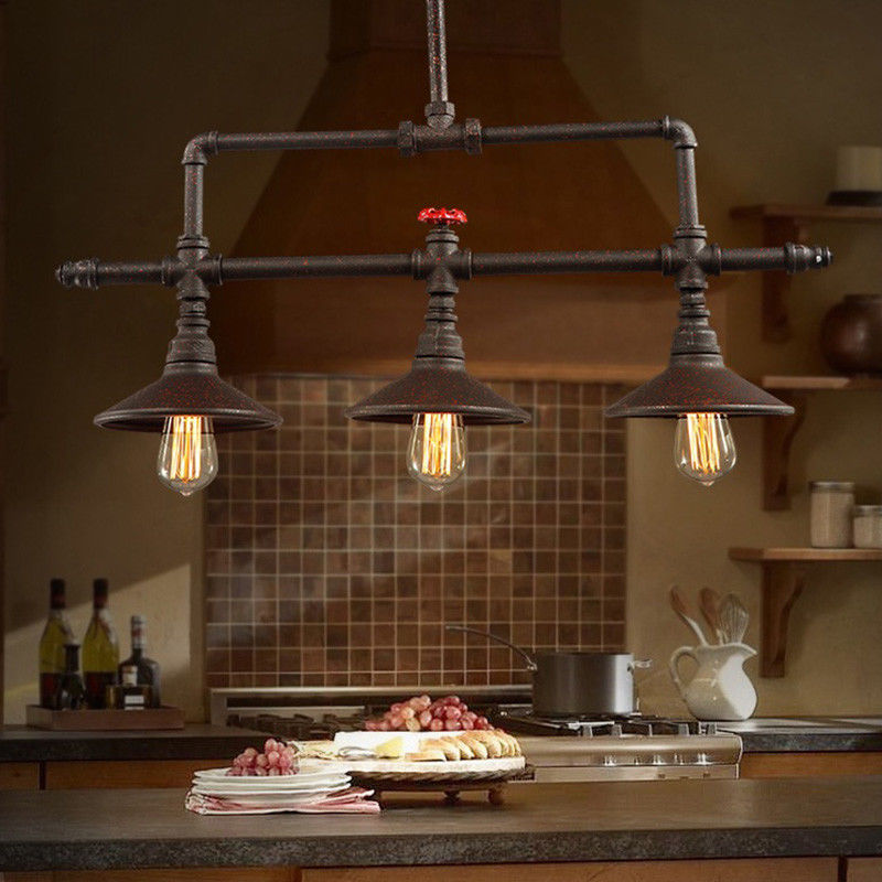 Rustic Chandelier Steampunk Pendant Lamp Kitchen Island Industrial Ceiling Light 799355975735 Ebay