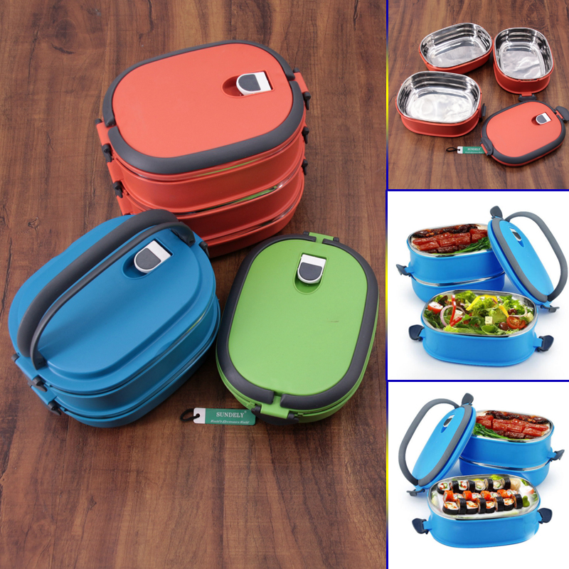 Hot Thermal Insulated Bento Stainless Steel Food Container Lunch Box 1 2 3 Layer