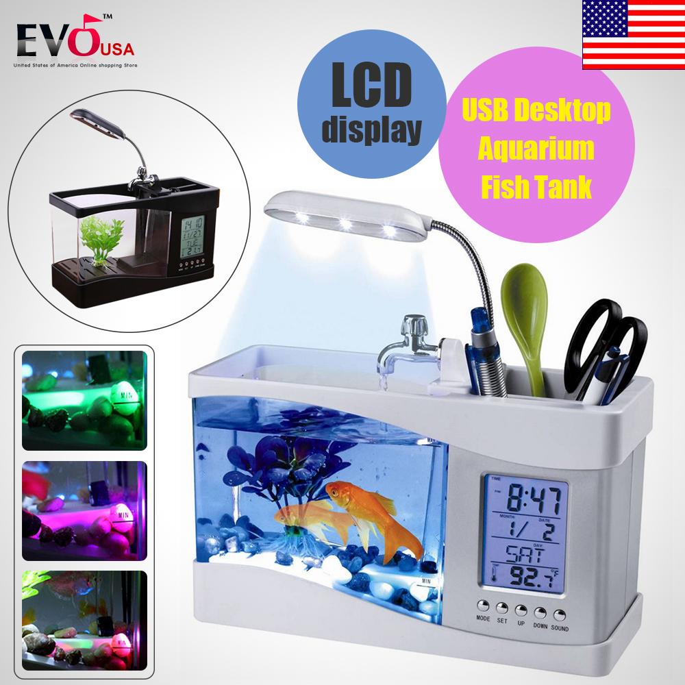Usb mini aquarium fish tank with colorful light - New Mini Usb Lcd Desktop Lamp Led Light Fish Tank Aquarium Lcd Calendar Clock