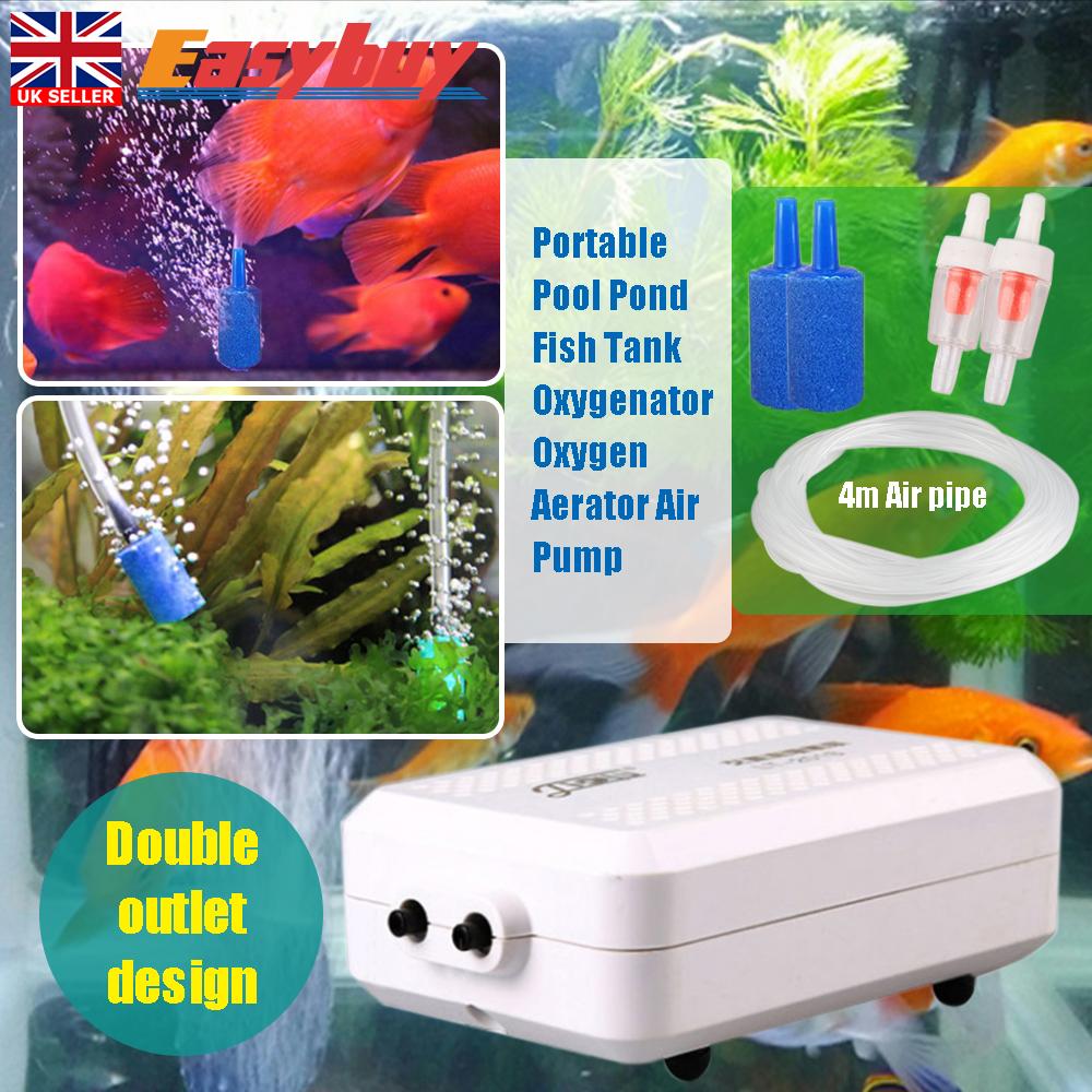 cc9a1c693cb Rechargable Aquarium Electric Air Pump Double Outlets Fish Tank Oxygen Pump  New