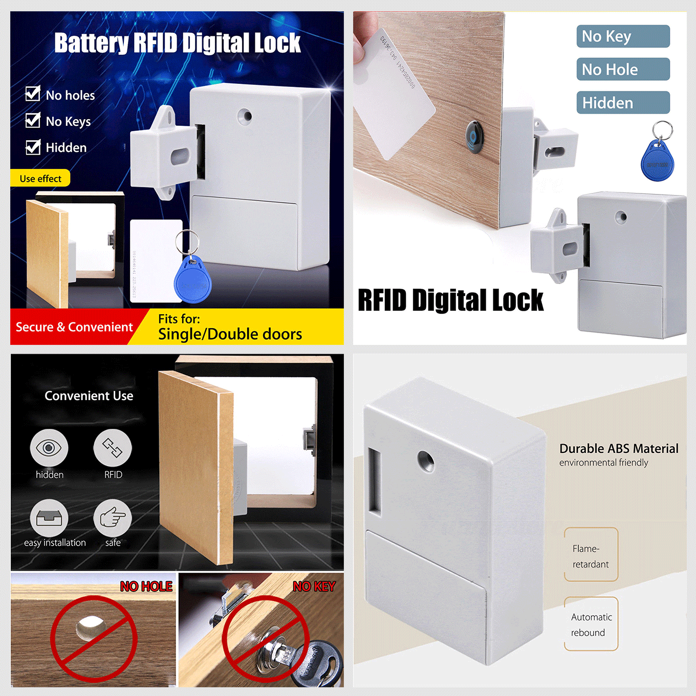 Cabinet Drawer Hidden Rfid Digital Battery Lock Without