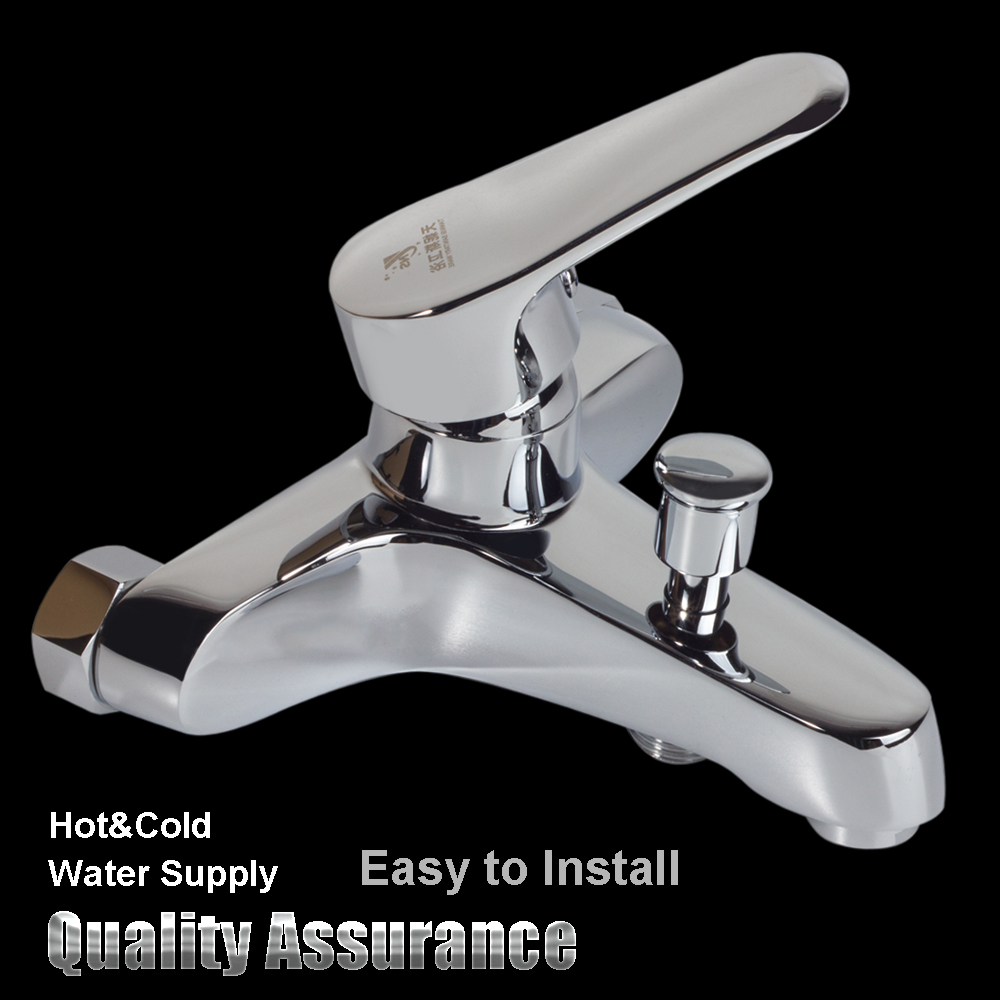 Bathroom Chrome Wall Mounted Hot Cold Dual Outlet Spout Water Mixer ...