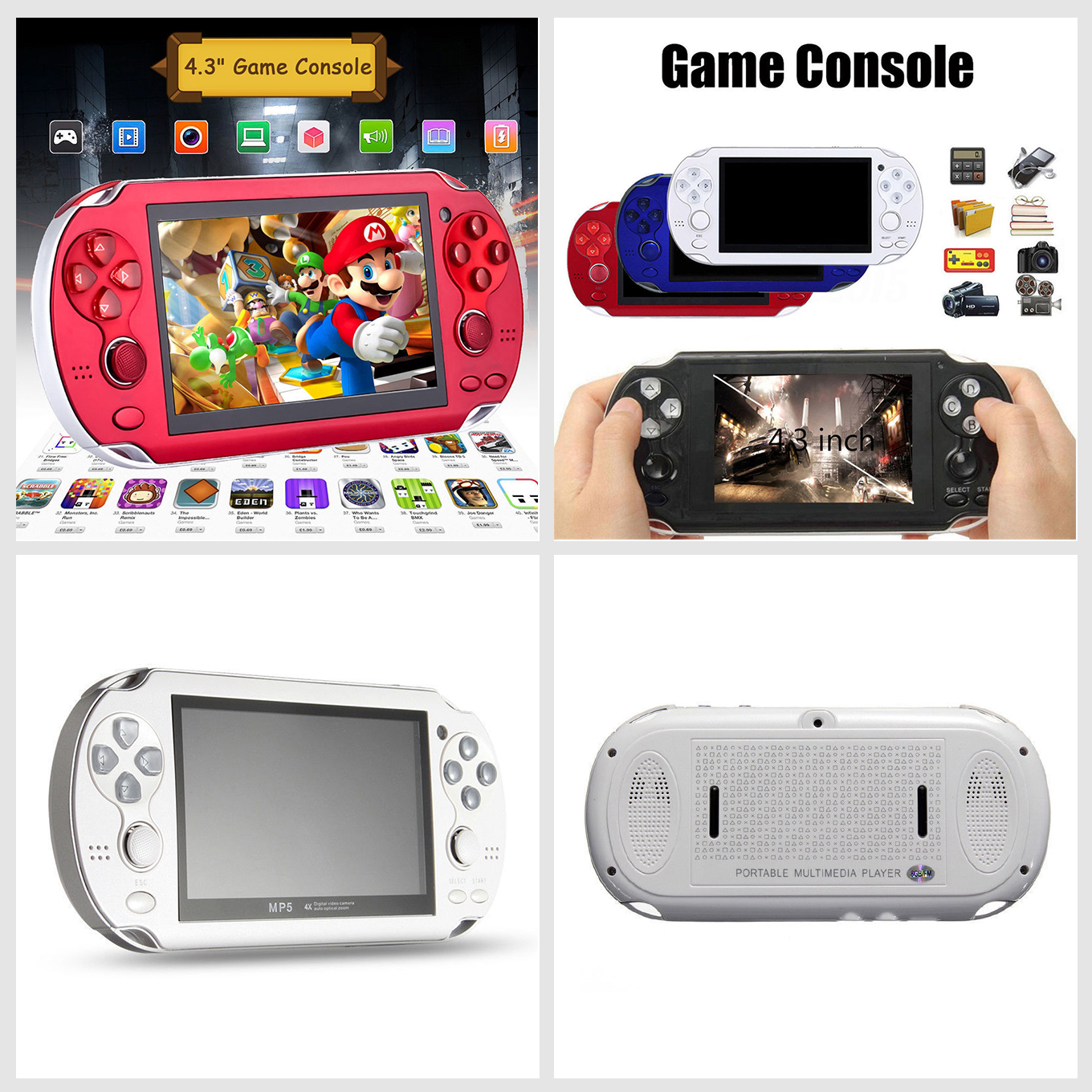 Details about 4 3'' 8GB Built-in 2000 Games Portable Handheld PSP Player  Game Console