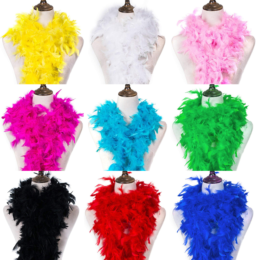 2M Clothing Accessories Feather Multi Color Strip Fluffy Boa Party Costume Decor