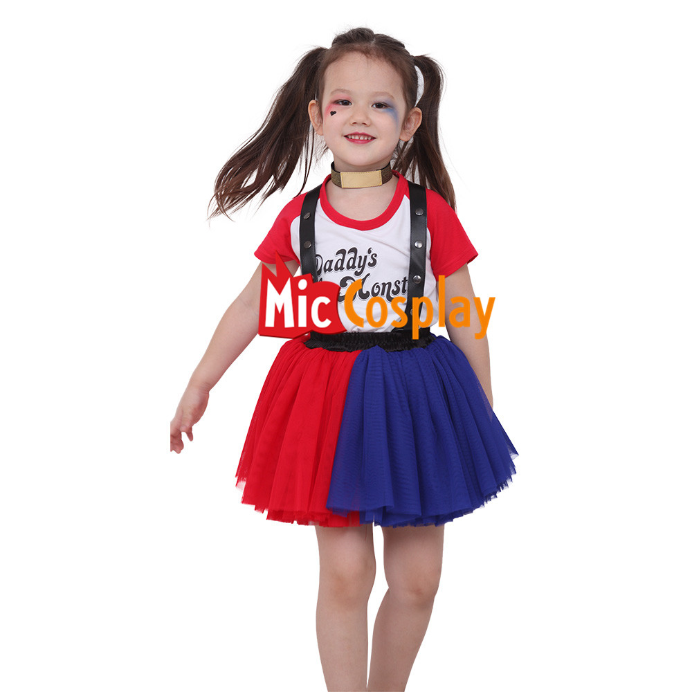dbcc75d2c2fa Details about Girls Harley Quinn Costume for Kids Halloween Outfit Dress